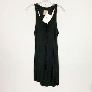 Chaser black lace up neckline tank top midi dress